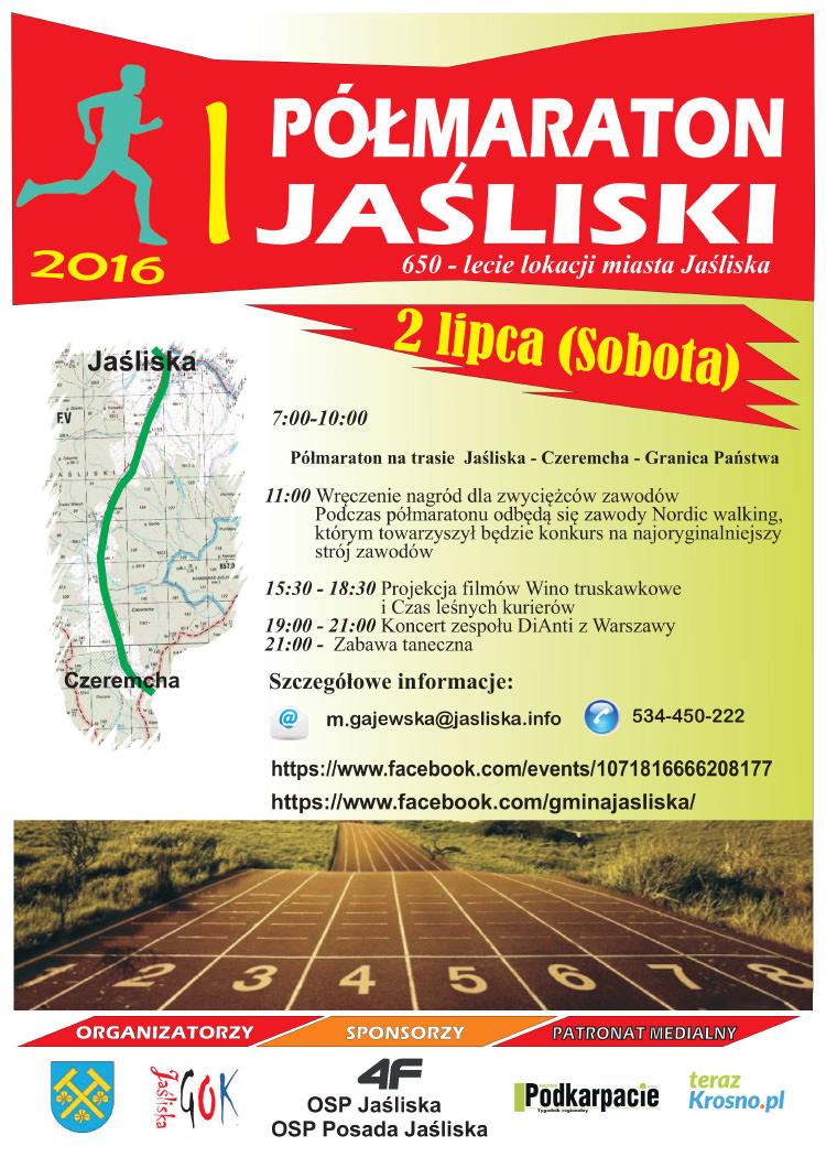 Plakat I Jaśliskiego Półmaratonu
