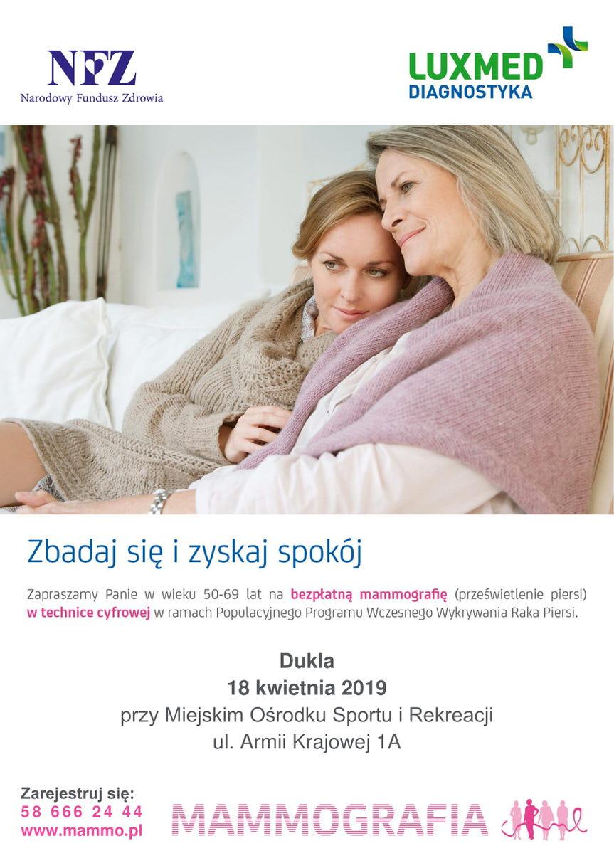 Bezpłatne badania mammograficzne dla kobiet w Dukli