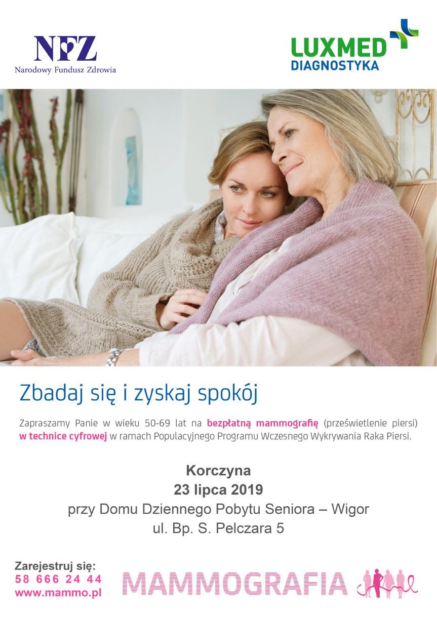 Bezpłatne badania mammograficzne dla kobiet w Korczynie