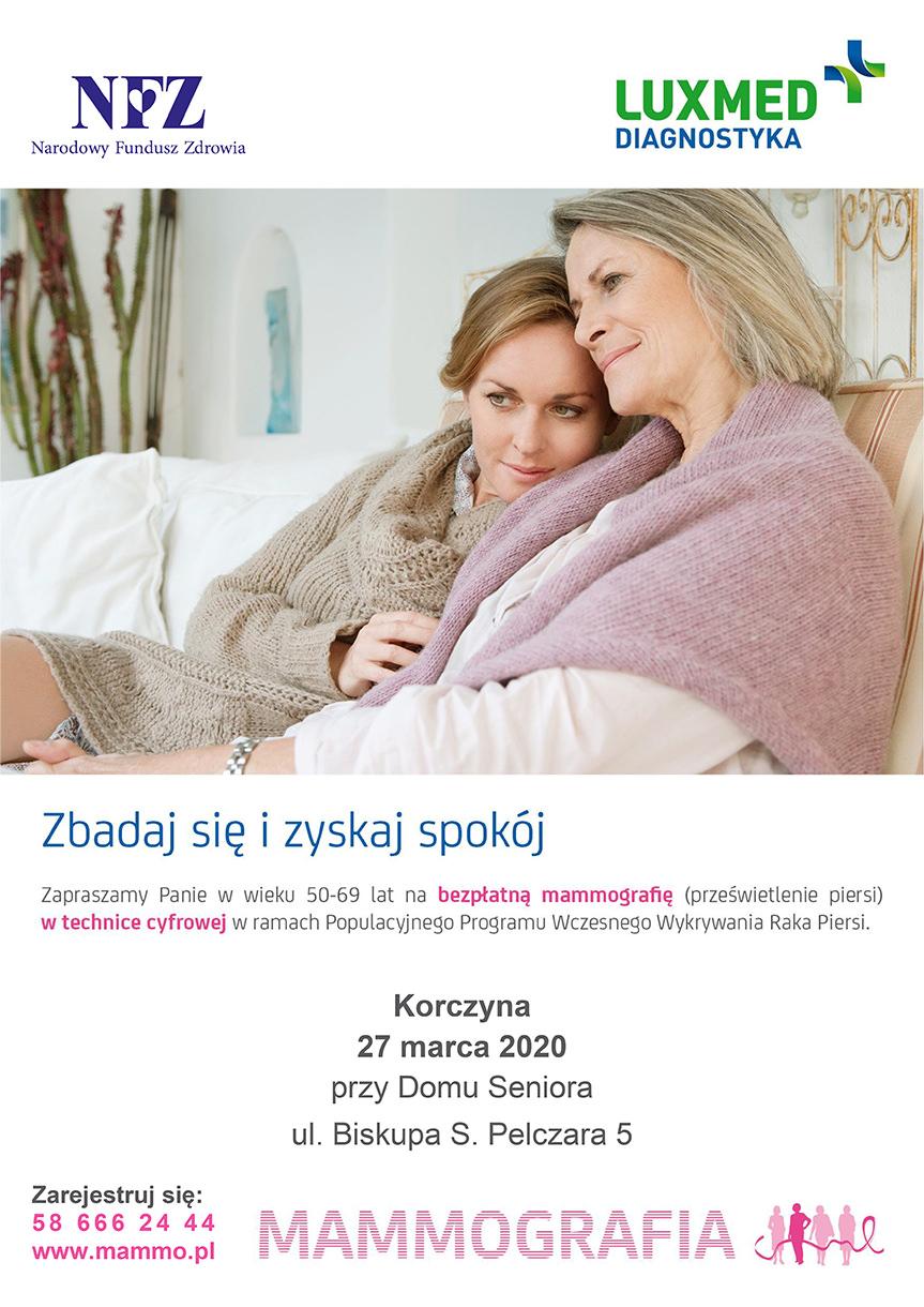 Bezpłatne badania mammograficzne w Korczynie