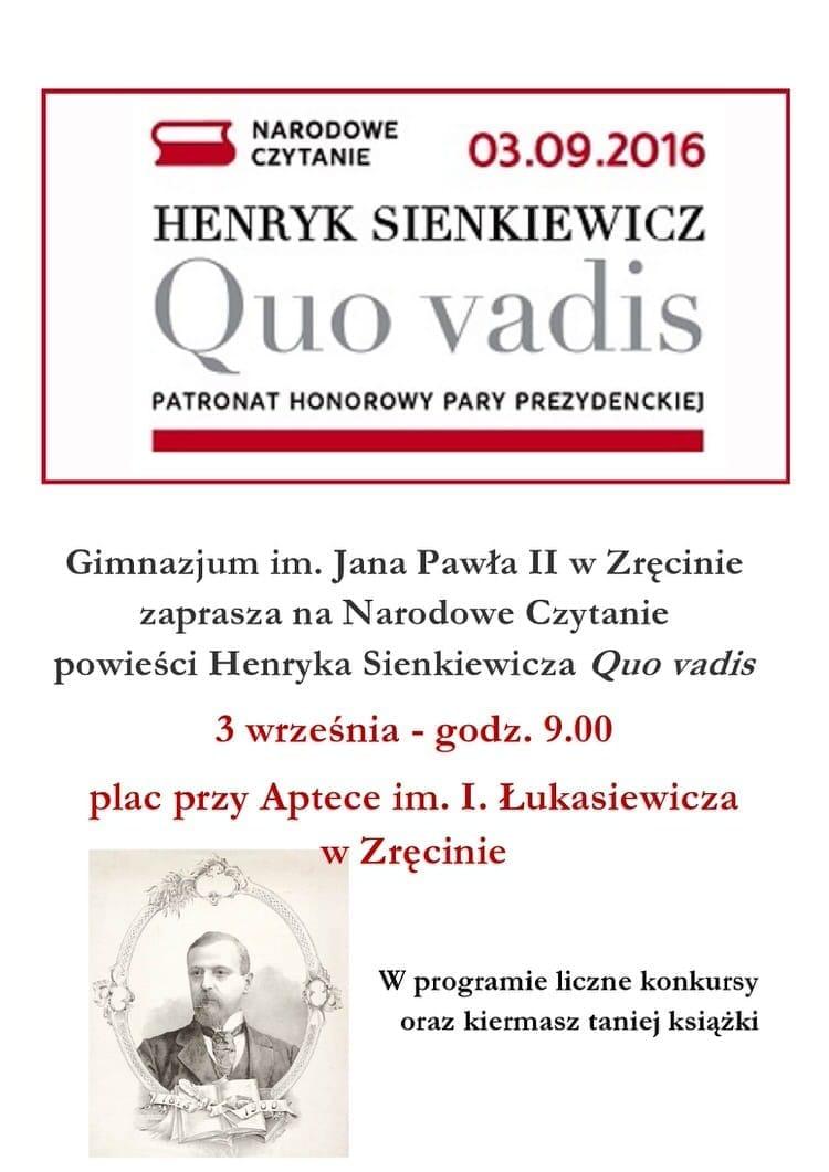 Narodowe Czytanie Quo Vadis W Zręcinie 03092016