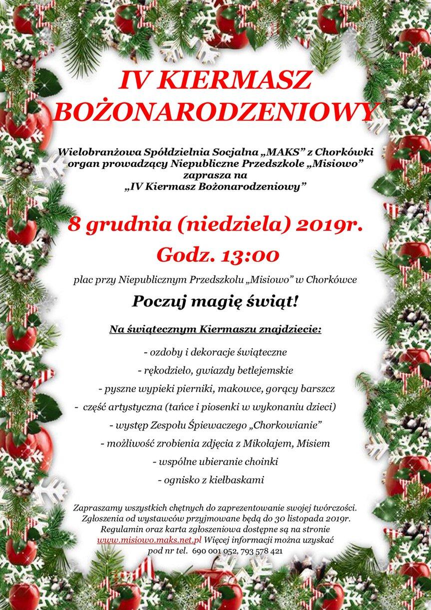 IV Kiermasz Bożonarodzeniowy w Chorkówce