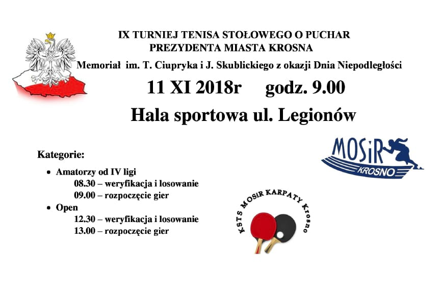 IX Turniej Tenisa Stołowego o Puchar Prezydenta Miasta Krosna