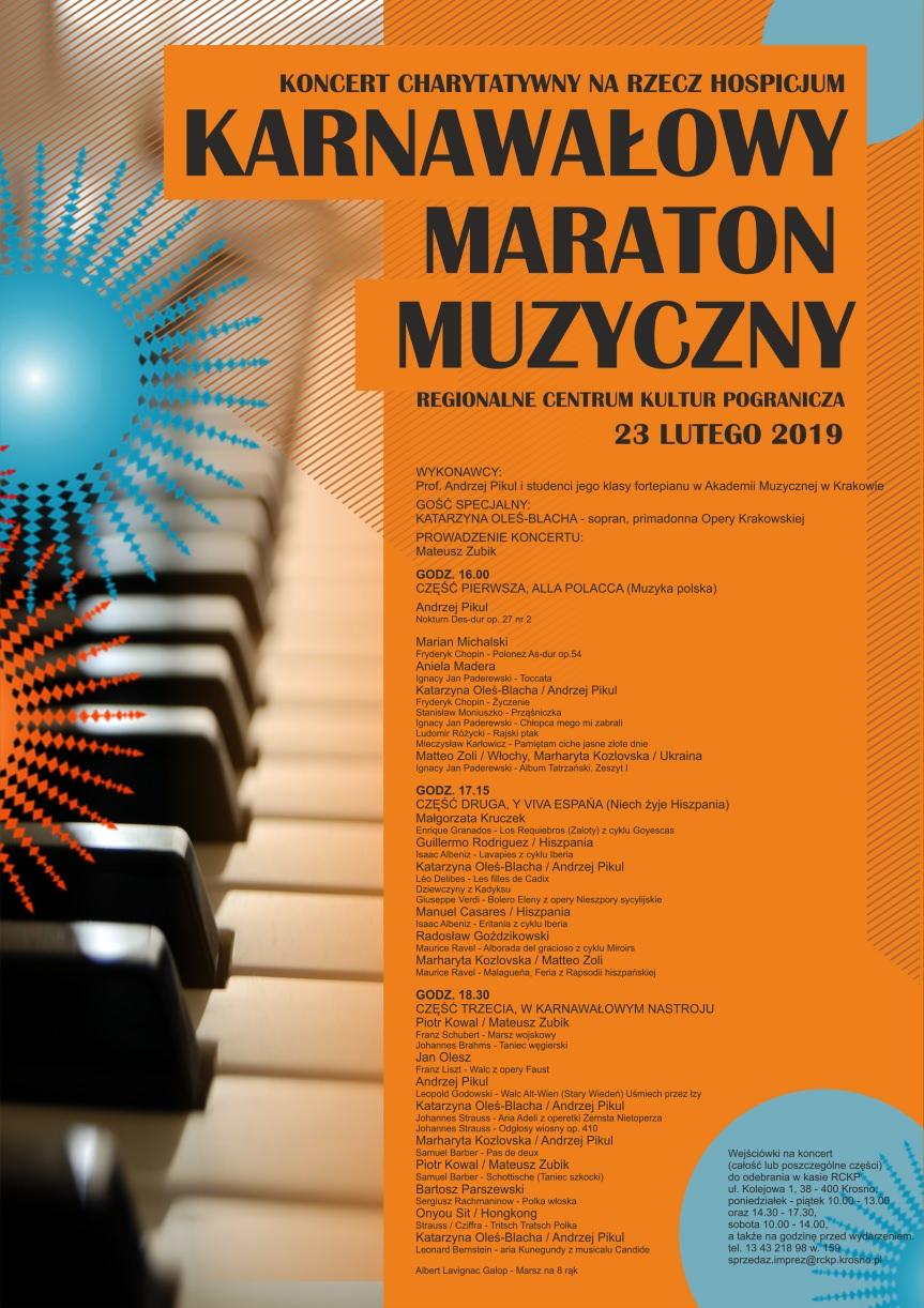 Karnawałowy Maraton Muzyczny - Koncert charytatywny na rzecz hospicjum