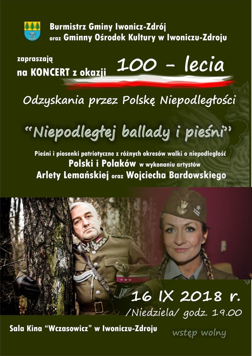 Koncert z okazji 100-lecia Odzyskania przez Polskę Niepodległości  w Iwoniczu-Zdroju