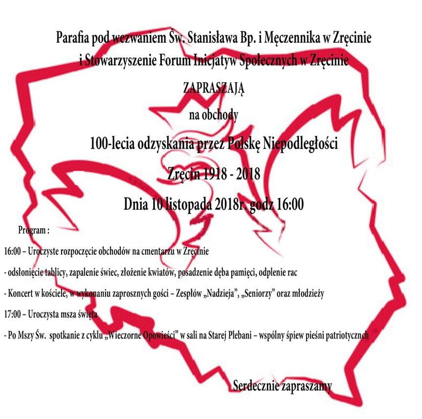 Obchody 100-lecia odzyskania przez Polskę Niepodległości w Zręcinie