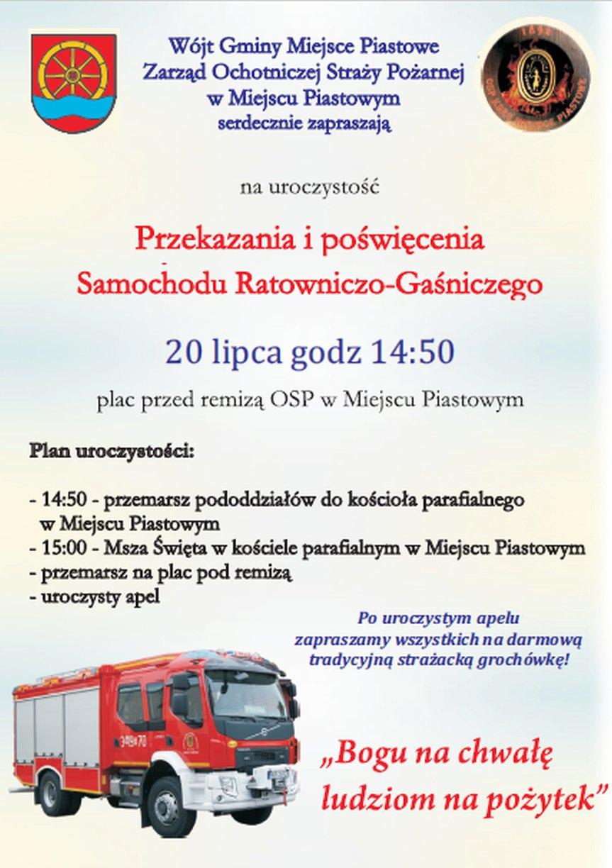 Przekazanie i poświęcenie samochodu dla OSP Miejsce Piastowe