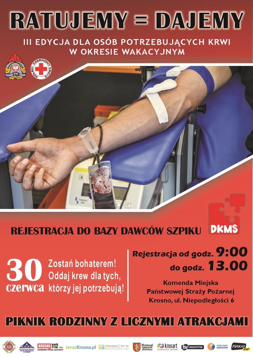 Ratujemy = Dajemy. Zbiórka dla osób potrzebujących krwi w okresie wakacyjnym