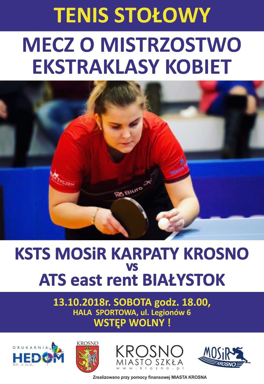 Tenis stołowy KSTS MOSiR Karpaty Krosno - ATS east rent Białystok