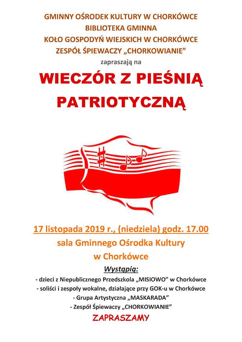 Wieczór z pieśnią patriotyczną w Chorkówce