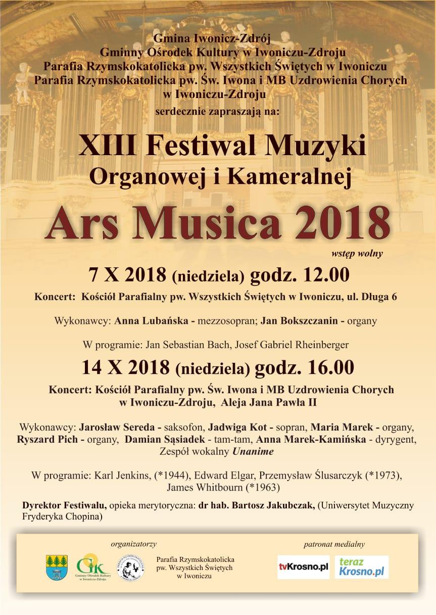 XIII Festiwal Muzyki Organowej i Kameralnej Ars Musica 2018