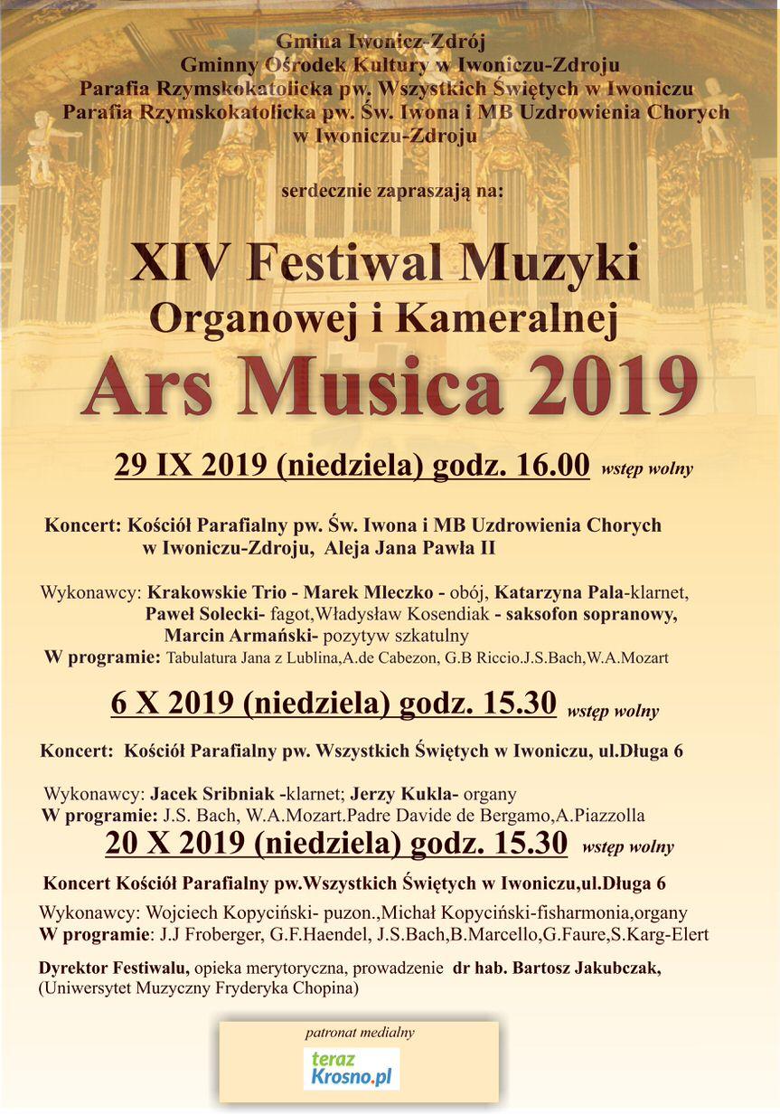 "XIV Festiwal Muzyki Organowej i Kameralnej ""Ars Musica 2019"""