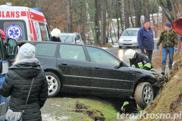 Audi w rowie w Łękach Dukielskich