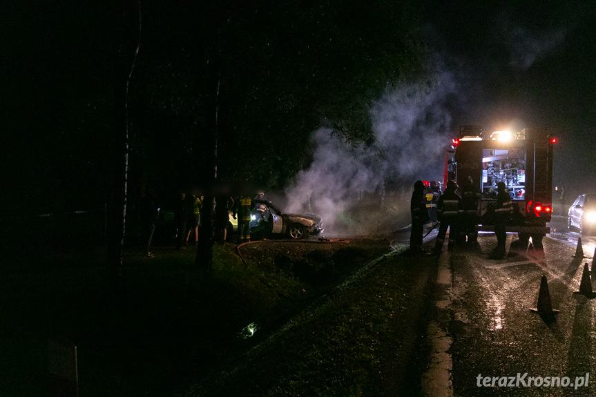 Pożar audi w Jaszczwi