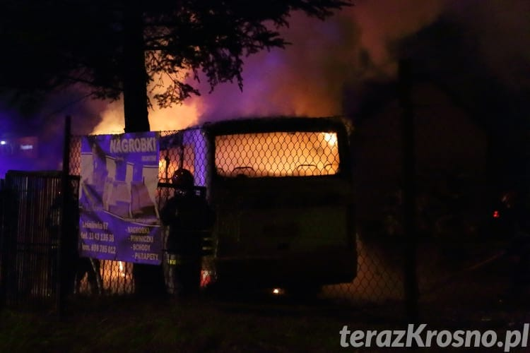 Pożar autobusu na dworcu