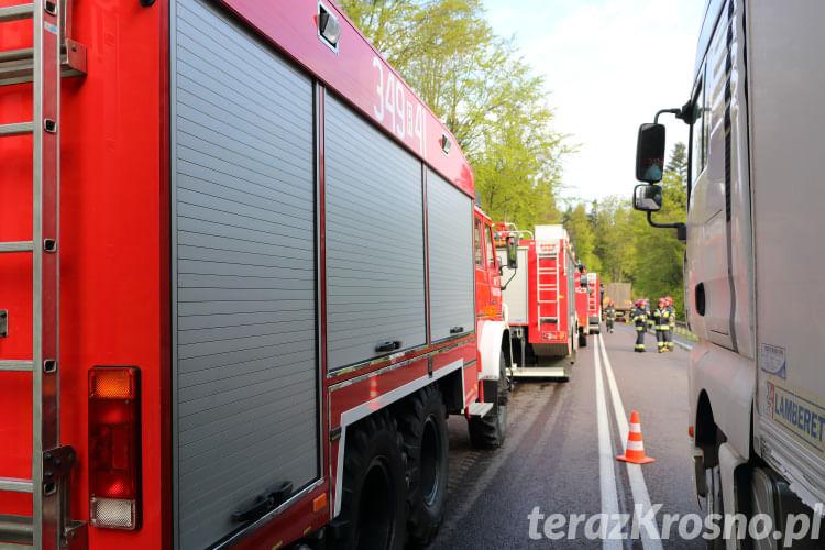 Pożar ciężarówki z drobiem w Woli Komborskiej