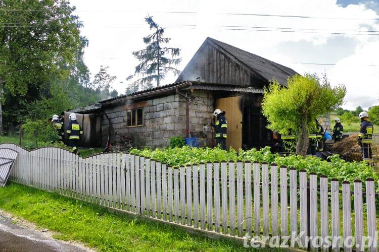 Pożar garażu w Rymanowie