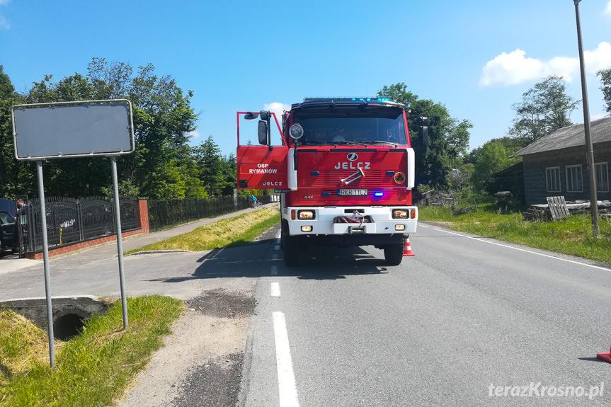 Pożar samochodu w Rymanowie