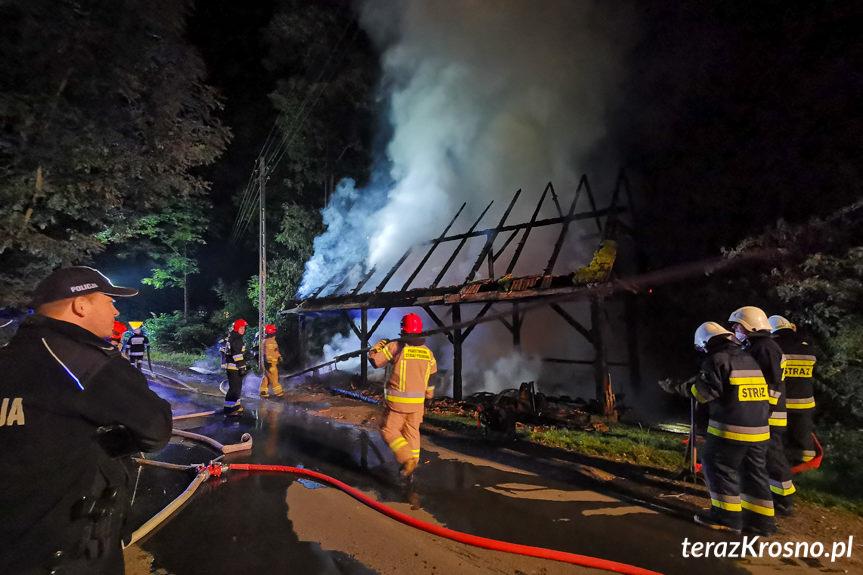 Pożar stodoły w Łączkach Jagiellońskich