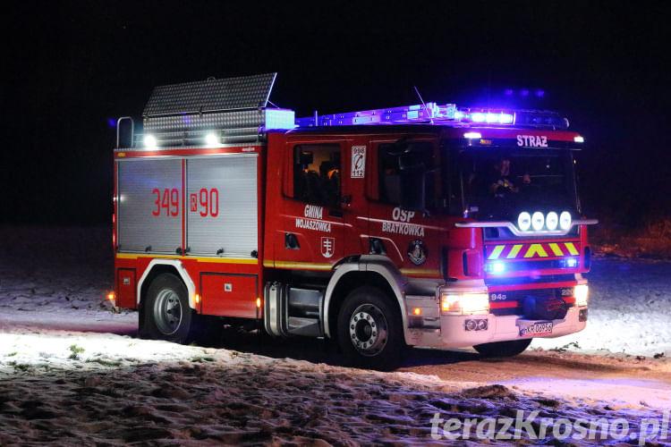 Pożar w Łękach Strzyżowskich
