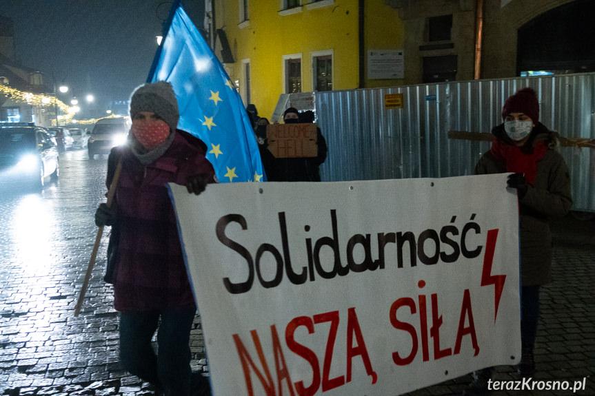 Spontaniczny protest w Krośnie