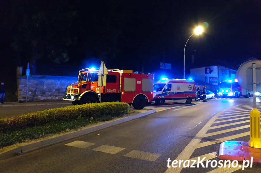 Wypadek na rondzie w Krośnie