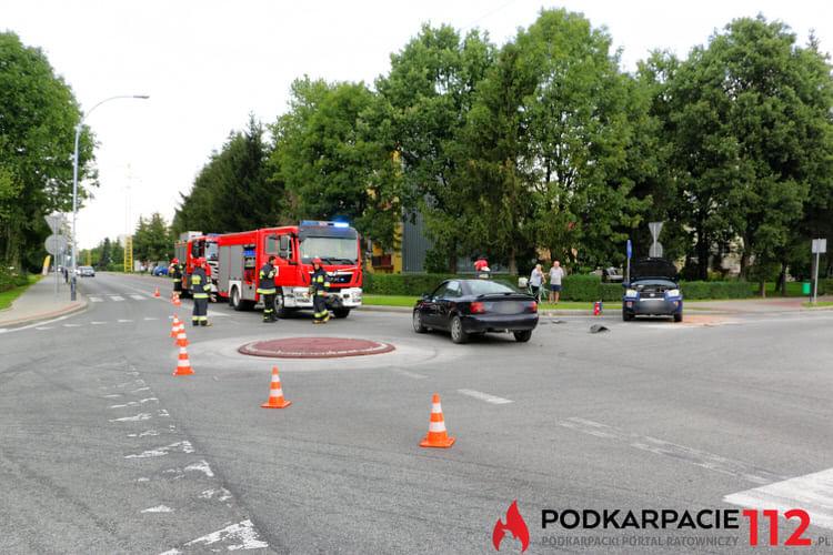 Zderzenie na rondzie w Krośnie