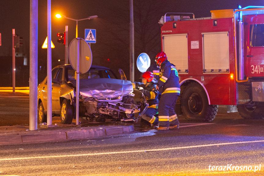 Zderzenie samochodów na Podkarpackiej