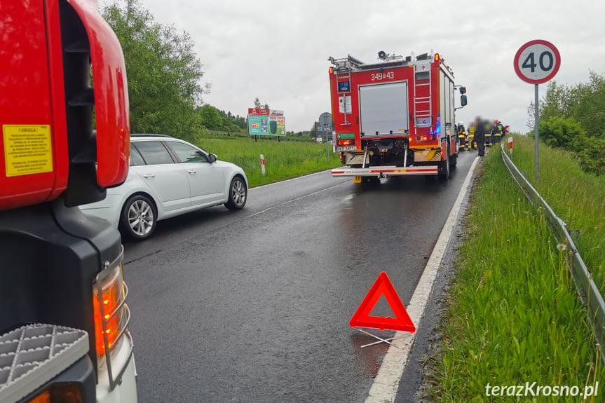 Zderzenie samochodów w Korczynie