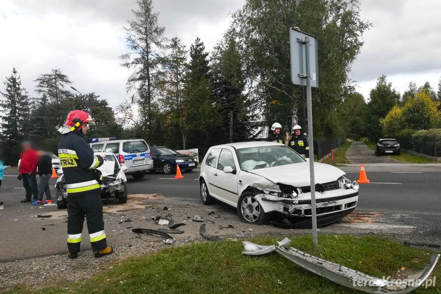 Zderzenie samochodów w Rymanowie