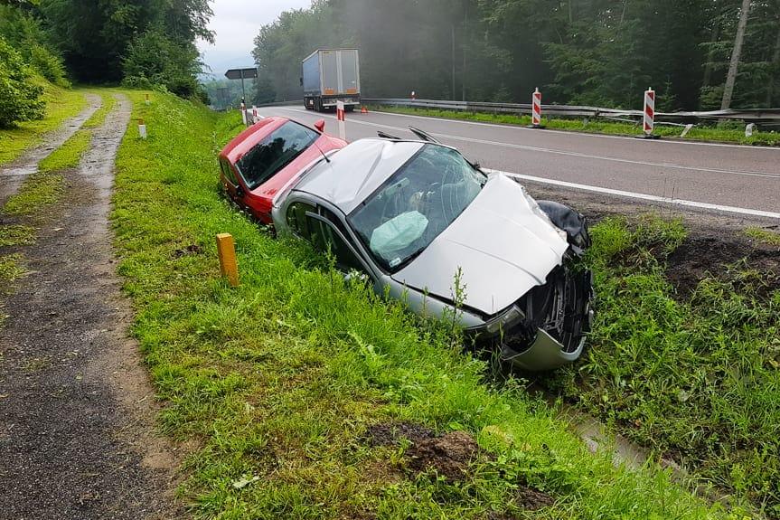 Zderzenie samochodów w Woli Komborskiej
