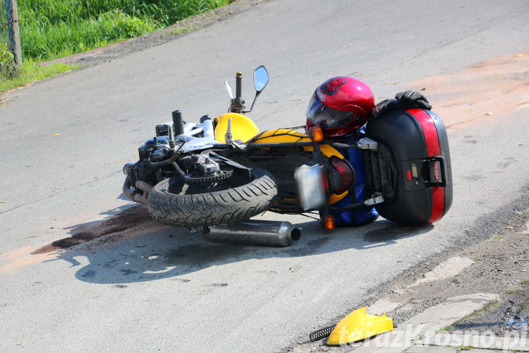 Zderzenie samochodu i motocykla w Rymanowie