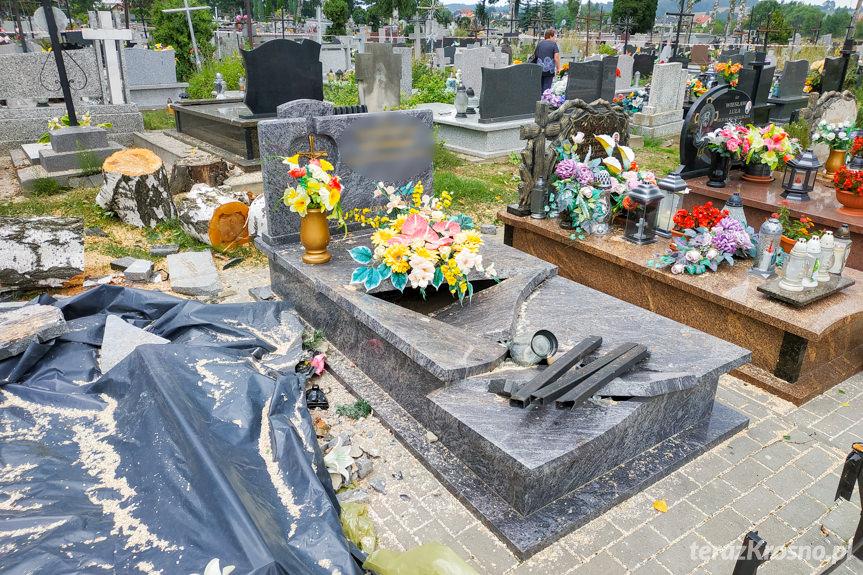 Zniszczone nagrobki na cmentarzu w Jedliczu