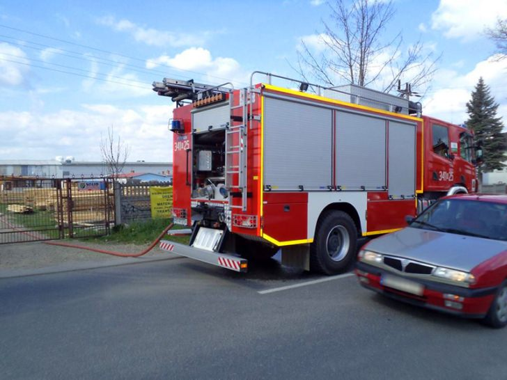 Pożar na terenie tartaku w Polance