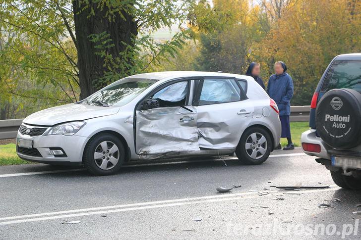 Zderzenie dwóch samochodów w Zboiskach
