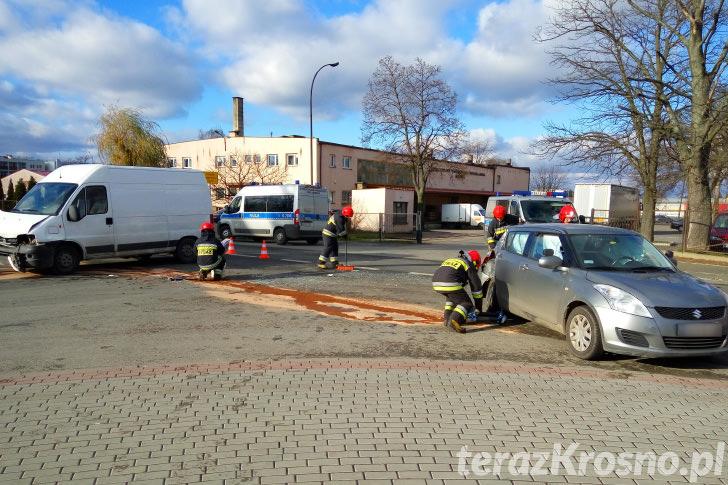Zderzenie trzech samochodów na ul. Składowej w Krośnie