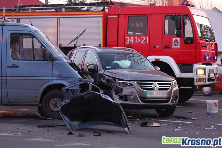 Zderzenia na skrzyżowaniu w Krośnie