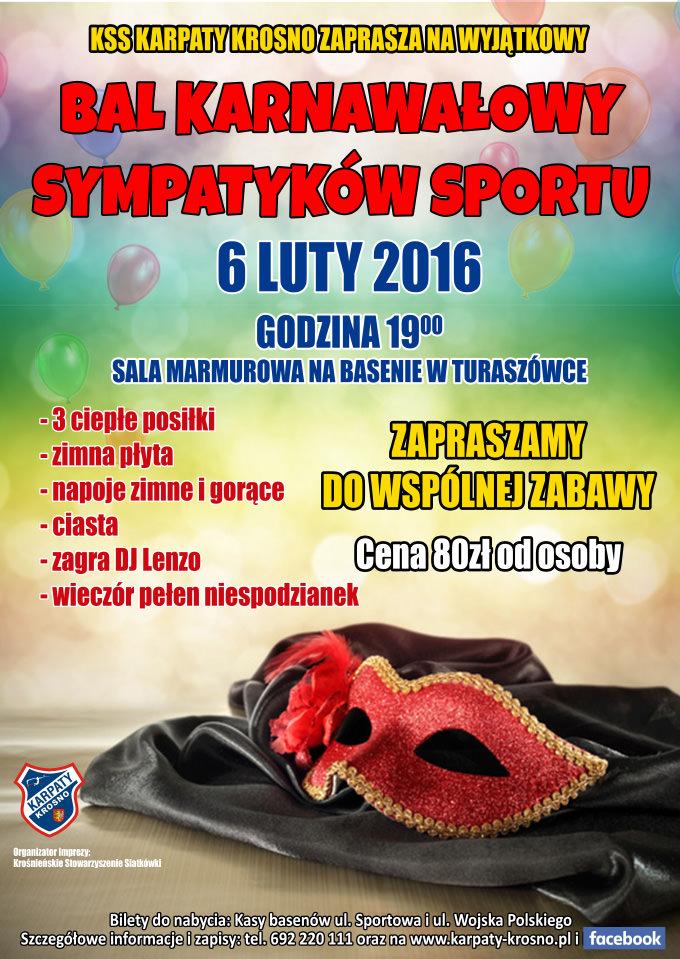 Bal Karnawałowy Sympatyków Sportu Zaproszenie